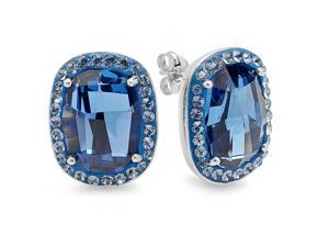Sterling Silver Stud Earrings made with Montana Blue Swarovski Elements