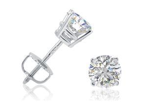 IGI Certified 1 1/4ct tw Round Diamond Stud Earrings in 14K White Gold with Screw-Backs