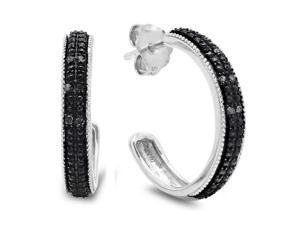 Amanda Rose Collection MCCLZ1758BLK 1/10ct Diamond Hoop Earrings in Sterling Silver - Black