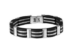Oxford Ivy GSSB42 8 1/2 Inches Men's Stainless Steel and Black Rubber Link Bracelet