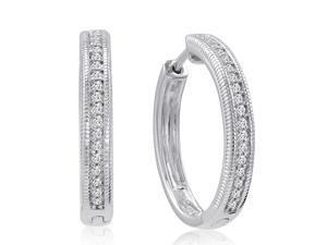 Diamond Hoop Earrings set in Sterling Silver