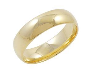 Men's 10K Yellow Gold 6mm Comfort Fit Plain Wedding Band  (Available Ring Sizes 8-12 1/2) Size 10.5
