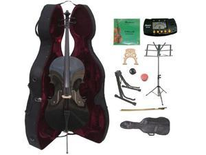 Crystalcello MC150BK 4/4 Size Black Cello with Case