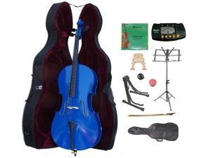 Crystalcello MC150DBL 3/4 Size Blue Cello with Case