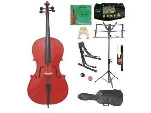 Crystalcello MC100RD 3/4 Size Red Cello with Carrying Bag