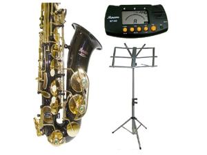 Merano E Flat Black Alto Saxophone with Case+Metro Tuner+Music Stand+11 Reeds