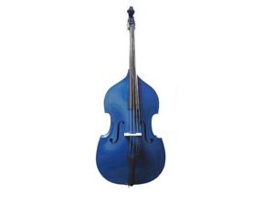 Merano 1/8 Size Blue Student Double Bass with Carrying Soft Bag, Bow + Free Rosin