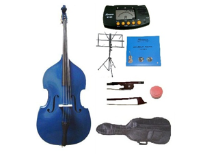 Merano 4/4 Size Blue Student Double Bass with Carrying Soft Bag, Bow + 2 Sets Strings+Music Stand+Metro Tuner+Rosin
