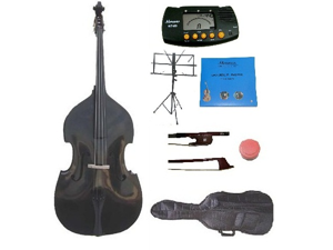 Merano 3/4 Size Black Student Double Bass with Carrying Soft Bag, Bow + 2 Sets Strings+Music Stand+Metro Tuner+Rosin