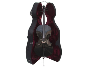 Merano MC150BK 4/4 Size Black Cello with Hard Case, Bag and Bow