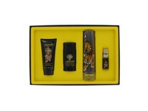 Ed Hardy by Christian Audigier Gift Set -- 3.4 oz Eau DeToilette Spray + .25 oz Mni EDT Spray + 3 oz Shower Gel + 2.75 oz Deodorant Stick for Men