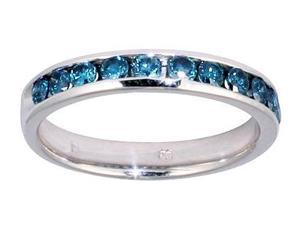 1/2 Carat Blue Diamond Channel Band in 14K White Gold