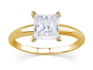 1/2 Carat Princess Diamond Solitaire Ring in 14K Yellow Gold
