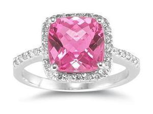 2.50 Carat Cushion Cut Pink Topaz and Diamond Ring 14K White Gold