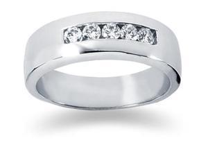0.4 ctw. Men's Round  Diamond Wedding Band in 14K White Gold