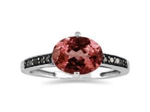 Garnet and Black Diamond Ring in 10K White Gold