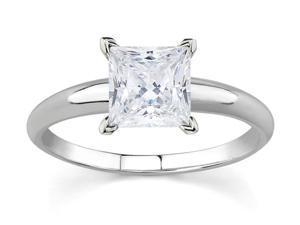 1/2 Carat Princess Diamond Solitaire Ring in 14K White Gold