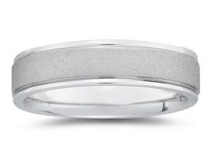 6 mm Brushed Center Comfort-Fit Wedding Band in 14k White Gold