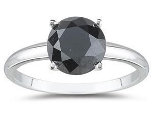 1.00 Carat Round Black Diamond Solitaire Ring in 14k White Gold