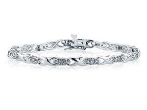 Diamond Link Bracelet in 10K White Gold