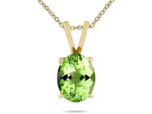 All-Natural Genuine 8x6 mm, Oval Peridot pendant set in 14k Yellow gold