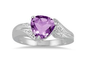 2.25 Carat Trillion Cut Amethyst and Diamond Ring in 10K White Gold