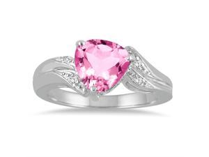 2.25 Carat Trillion Cut Pink Topaz and Diamond Ring in 10K White Gold