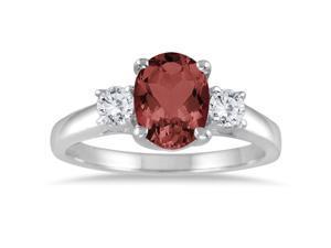 1.75 Garnet and Diamond Three Stone Ring 14K White Gold