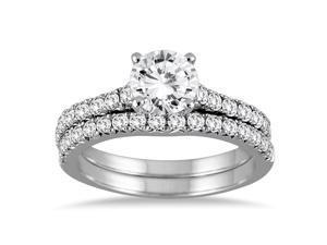 1 3/8 Carat Diamond Bridal Set in 14K White Gold