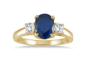1.35 Carat Sapphire and Diamond Three Stone Ring in 14K Yellow Gold