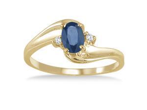 Sapphire Gemstone and Diamond Wave Ring 14k Yellow Gold