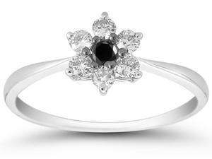 1/6 Carat Black and White Diamond Flower Ring in 10K White Gold