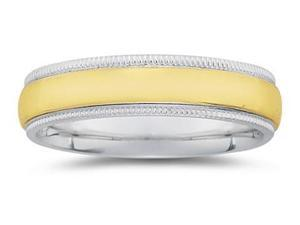 6 mm Two Toned White Milgrain Edge Comfort-Fit Wedding Band in 14k Two-Tone Gold