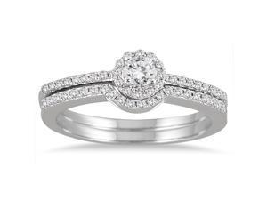 2/5 Carat Diamond Halo Bridal Set in 10K White Gold