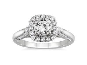 1 1/4 Carat Diamond Halo Engagement Ring in 14K White Gold