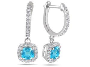 1.00 Carat Blue Topaz and Diamond Halo Dangle Earrings in 10K White Gold