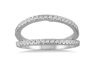 1/3 Carat Diamond Double Row Split Oyster Ring in 10K White Gold