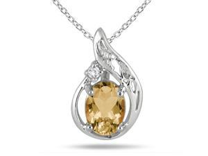 1.00 Carat Citrine and Diamond Pendant in .925 Sterling Silver