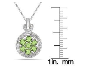 1.00 Carat Peridot and Diamond Cluster Pendant in .925 Sterling Silver