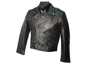 Black Leather Men's Biker Jacket (#297-0)