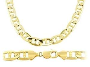 Mens 14k Yellow Gold Chain Solid Necklace Mariner Link Heavy 8.9mm - 22 inch