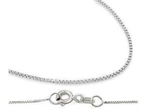 14k Solid White Gold Necklace Box Chain .8mm - 18 inch