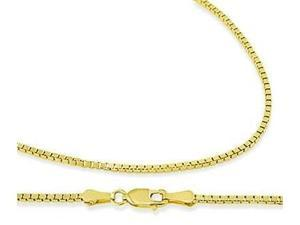 14k Yellow Gold Box Chain Solid Necklace 1mm - 18 inch
