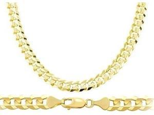 Heavy 14k Yellow Gold Chain Cuban Curb Necklace Solid Link Mens 7.1mm - 22 inch