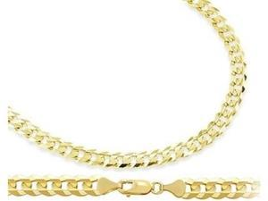 Cuban Link Curb Chain 14k Yellow Gold Solid Necklace 3.2 mm - 18 inch
