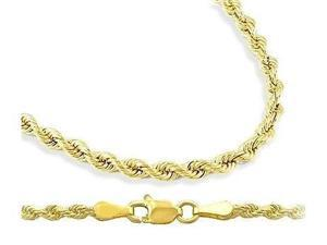 14k Yellow Gold Necklace Diamond Cut Rope Chain Solid 3mm - 24 inch
