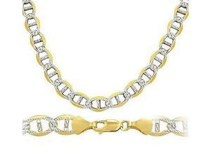 Mariner Chain 14k Two Tone Gold Necklace Solid Pave Mens Link 7.6mm - 20 inch