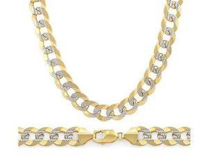 14k Gold Chain Pave Cuban Necklace Two Tone White Yellow Link 7.1mm - 24 inch