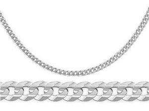 14k Solid White Gold Cuban Bracelet Curb Link 2.4 mm 7 inch