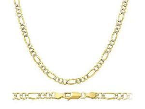 14k White and Yellow Gold Bracelet Solid Figaro Link 2.5mm 7 inches